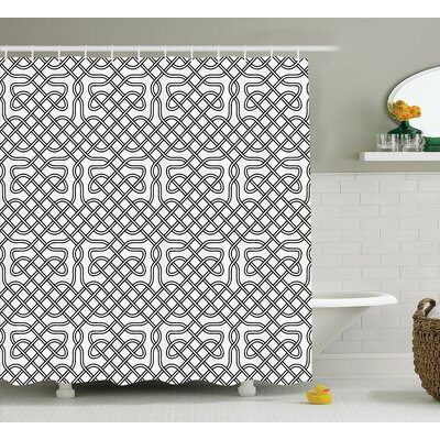 Harris Horizontal Knotted Motif Textured With Heraldic South Scandinavian Graphic Shower Curtain Size: 69 W x 75 H