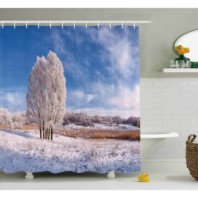 Jenna Nature Winter Landscape With Snowy Foliage and Tree Icy Frozen Lands Panorama Shower Curtain Size: 69 W x 70 H