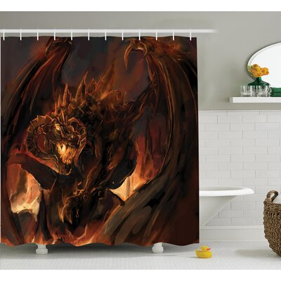 Anna Dragon Demonic Angry Molten With Horns Doom Burning Flames Imaginary Inferno Beast Shower Curtain Size: 69 W x 70 H