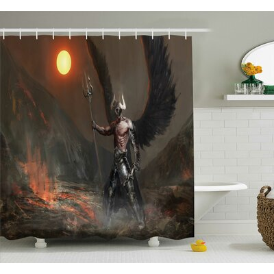 Hickman Knight With Wings Feathers Angel Devil Full Moon Fire Fantasy Night Shower Curtain Size: 69 W x 70 H