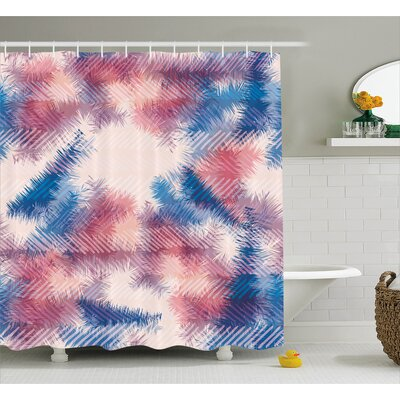 Alisa Boho Digital Tie Dye Effect Graphic With Soft Feather Patterns Tribal Art Print Shower Curtain Size: 69 W x 70 H