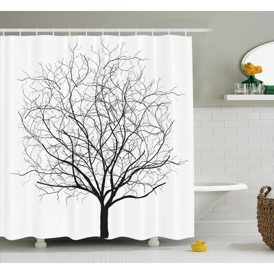 Buradale An Old Withered Oak Crown Without Leaves Tree Branches Illustration Shower Curtain Size: 69 W x 75 H