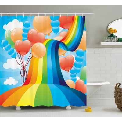 Hilary Cartoon Rainbow Sky With Balloons Hearts Colors Romantic Love Valentines Spring Theme Shower Curtain Size: 69 W x 70 H