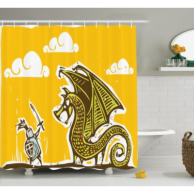 Francisca Dragon Brave Knight With Sword and Shield Shower Curtain Size: 69 W x 70 H