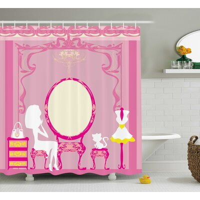 Robin Girly Lady French Cosmetic Make-Up Mirror Furniture Dressy Design Art Decor Picture Shower Curtain Size: 69 W x 75 H