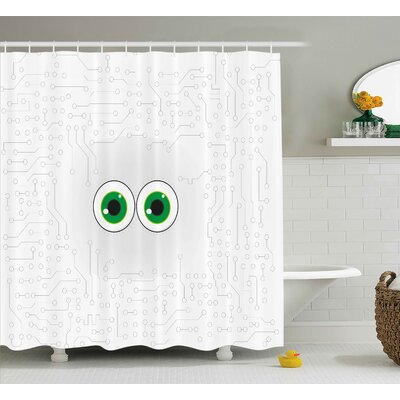 Tyra Trippy High-Tech Hardware Circuit Board Backdrop With Eye Forms Digital Picture Shower Curtain Size: 69 W x 70 H
