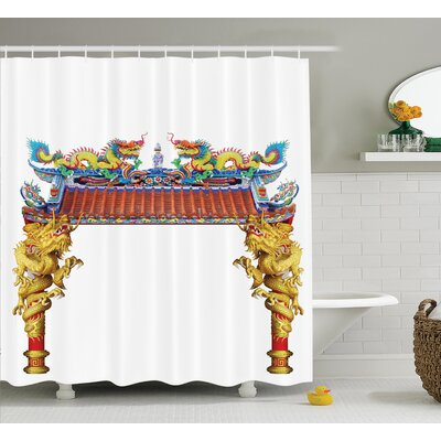 Gwendolyn Dragon Chinese Style Dragon Archway Statue Over Pillars Shower Curtain Size: 69 W x 70 H