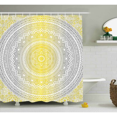 Ryanne Grey and Yellow Soft Pastel Color Ombre Ethnic Indian Mandala Circular Art Medallion Print Shower Curtain Size: 69 W x 75 H