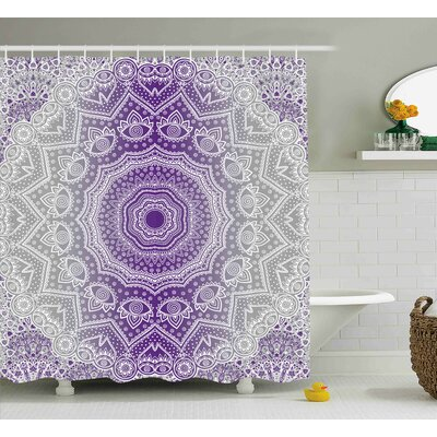 Melody Grey and Purple Ombre Mandala Abstract Eastern Religious Art With Deity Art Holy Cosmos Design Shower Curtain Size: 69