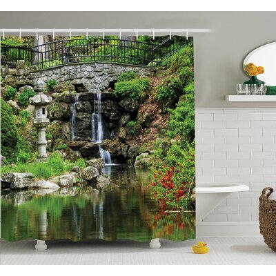 Terry Japanese Cascading Waterfall and Pond Under Bridge of Flowers Shower Curtain Size: 69