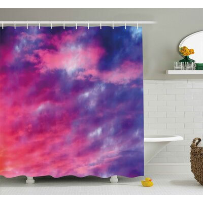 Erik Sky Magical Cloudy Sunset Idyllic Shades of Pink on Air Gradient Fading Moody Picture Shower Curtain Size: 69 W x 70 H