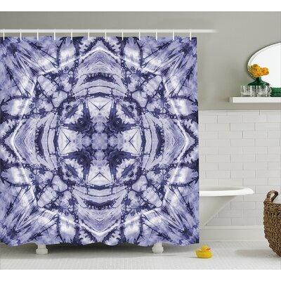 Margie Tie Dye Modern Form Generated By Resisting Twisting Fractal Saturated Effects Shower Curtain Size: 69 W x 75 H