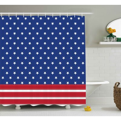 4th of July Old Fashion Us Flag Motif With Nostalgic Featured Stripes and Tones Print Shower Curtain Size: 69 W x 70 H