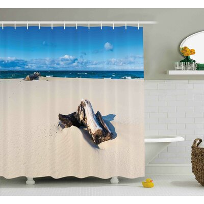 Lily Driftwood Landscape of Sandy Sea Shore With Driftwood Cloudy Sky Digital Image Shower Curtain Size: 69 W x 70 H