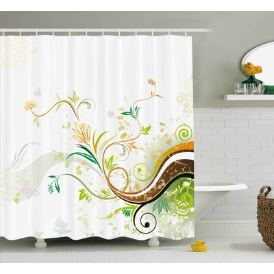 Trista Abstract Modern Flowers Ivy Leaves Buds Blossoms Wavy Lines Print Shower Curtain Size: 69 W x 70 H
