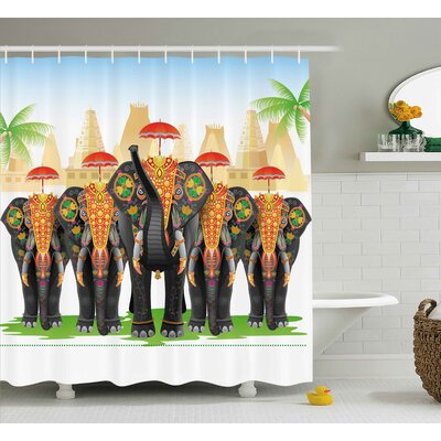 Kirby Ethnic Elephants Shower Curtain Size: 69 W x 70 H