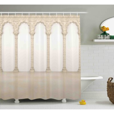 Denise Architecture Theme Wall With Graceful Columns and Arches Digital Image Shower Curtain Size: 69 W x 75 H
