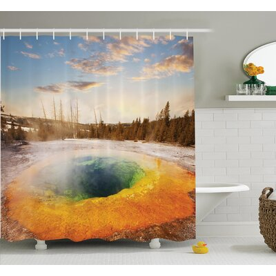 Stevens Morning Glory Pool Shower Curtain Size: 69 W x 70 H