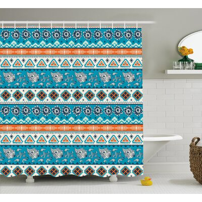 Alessia Tribal Aztec Indian Print With Persian Tulips Floral Spring Bohemian Art Shower Curtain Size: 69