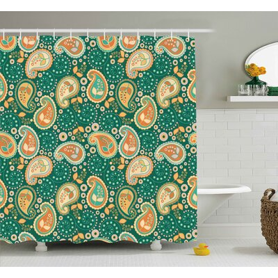 Aguirre Indian Paisley Leaves With Arabesque Folk Features Floral Pattern Shower Curtain Size: 69 W x 70 H