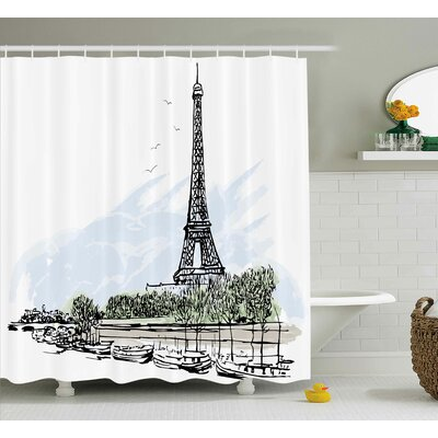 Brinley Paris Architecture Theme Illustration of Eiffel Tower Birds and Trees Pattern Shower Curtain Size: 69 W x 70 H