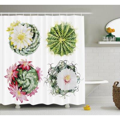 Landon Mexican Hot Desert Cactus Flower Plant Botanic Nature Vintage Print Image Shower Curtain Size: 69 W x 70 H