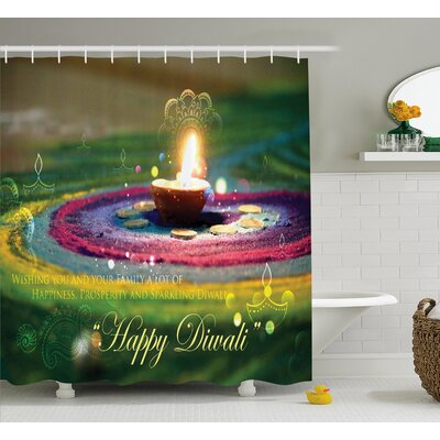Makhzane Diwali Indian Religious Festive Celebration With Happy Wishes Quotation Photo Print Shower Curtain Size: 69 W x 70 H