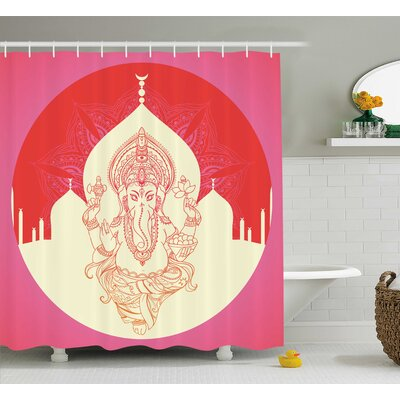Hogan Indian Ancient Elephant Goddess With Asian Temple Shower Curtain Size: 69 W x 75 H