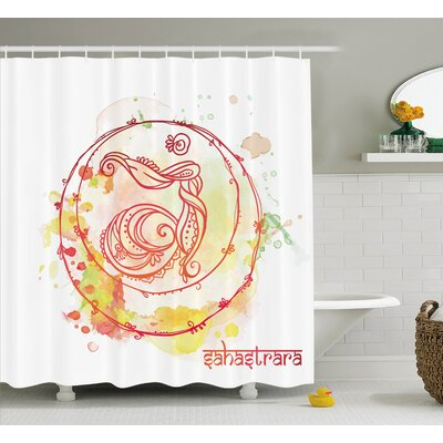 Lehigh Round Sketchy Chakra Wheel With Watercolor Splashes Brushstrokes Ground Image Shower Curtain Size: 69 W x 70 H