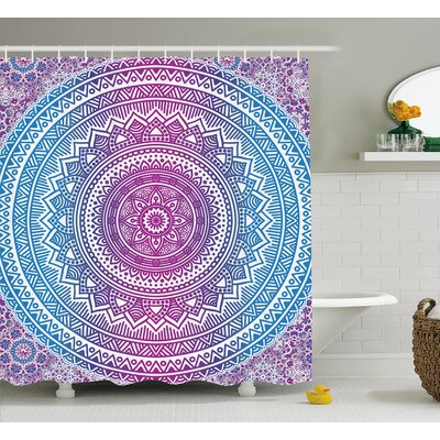 Mae Blue and Pink Ombre Mandala Floral Star Medallion Pattern Indian Style Bohemian Shower Curtain Size: 69 W x 70 H