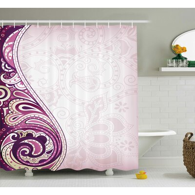 Ila Floral Swirled Curved Petals Motif Arabesque Oriental Artful Design Shower Curtain Size: 69 W x 70 H