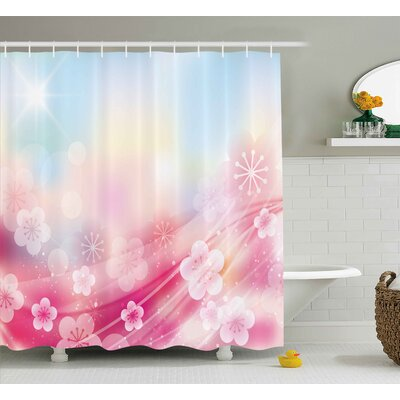 Kerri Modern Charming Blossoms Flowers Buds Rays Waves Rainbow Ombre Print Shower Curtain Size: 69 W x 70 H