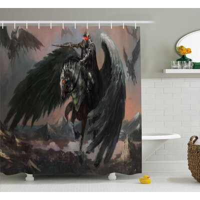 Hendricks Pegasus King Leads His Army The Dark Ages Imaginary Magic Story Print Shower Curtain Size: 69 W x 70 H