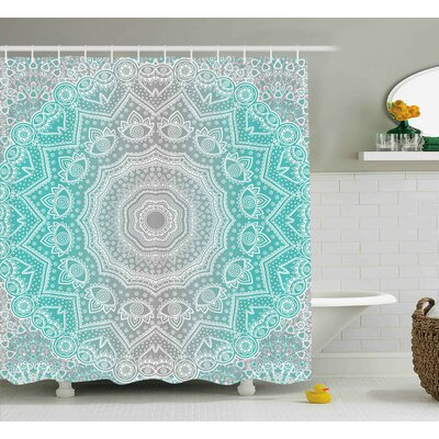 Anna Grey and Turquoise Primitive Spiritual Essence and Universe Harmony Mandala Ombre Art Shower Curtain Size: 69