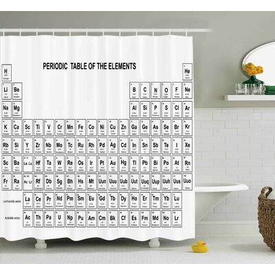 Meka Science Element Table For Chemisty Science Students Scientists Classic Plain Image Shower Curtain Size: 69 W x 70 H