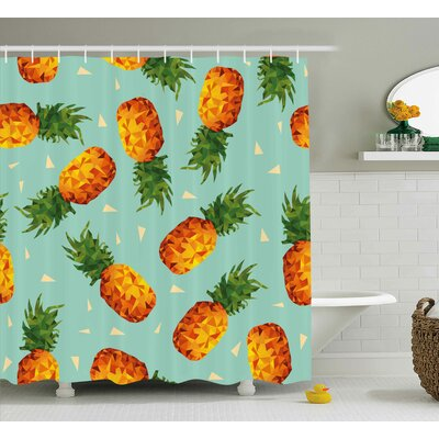 Samuel Retro Poly Style Pineapples Motif Vintage Beach Summer Modern Illustration Shower Curtain Size: 69 W x 84 H