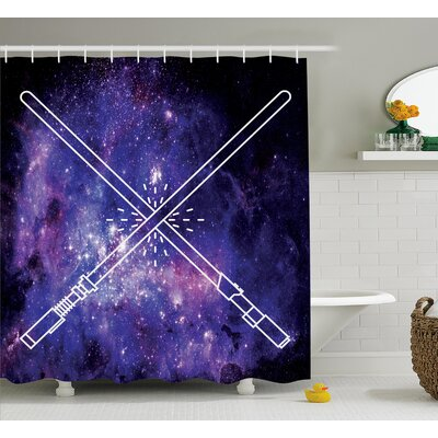 Hallie Galaxy Two Crossed Swords Shower Curtain Size: 69 W x 70 H