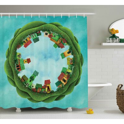 Iva Small Town Illustration Surrounded By Trees Eco Family Metaphor Theme Artwork Shower Curtain Size: 69 W x 70 H