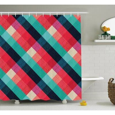 Karst Vivid Gradient Digital Mage Ethnic Celtic Forms With Geometric Elements Irish Print Shower Curtain Size: 69