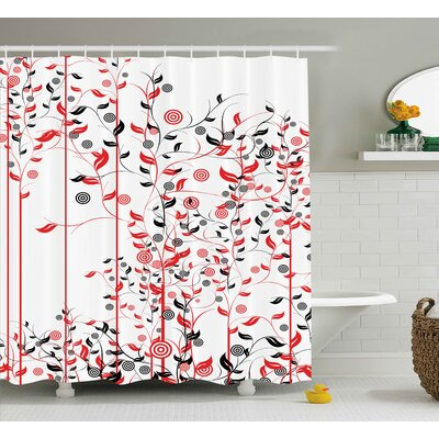 Suzanne Romantic Abstract Flowers Ivy Swirls Image With Leaves Shower Curtain Size: 69 W x 70 H