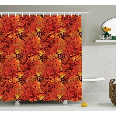 Larson Grungy Distressed Nostalgic Victorian Flower Petals Romantic Female Retro Design Shower Curtain Size: 69 W x 75 H
