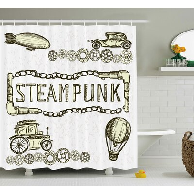 Sketchy Balloon Antique Cars Vintage Design With Quote Shower Curtain Size: 69 W x 70 H
