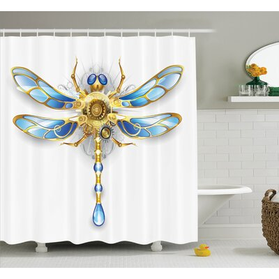 Elaine Country Close-Up View of Mechanical Dragonfly With Eyes and Gears Body Illustration Shower Curtain Size: 69 W x 75 H