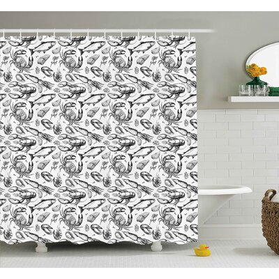 Autumn Crabs Sea Animals a Vintage Illustration of Hand Drawn Seafood Pattern Print Shower Curtain Size: 69 W x 70 H