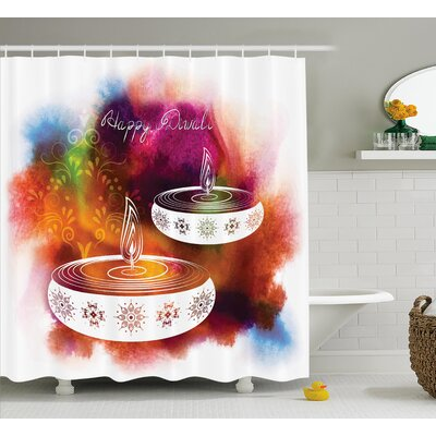 Meknes Diwali Abstract Rainbow Brush Strokes Like Paisley Decor With Festive Fire Candles Shower Curtain Size: 69 W x 70 H