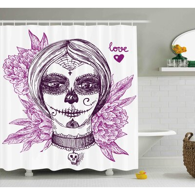 Josefa Day of The Dead Gothic Vampire Like Dead Face Skull With Flowers Image Shower Curtain Size: 69 W x 70 H