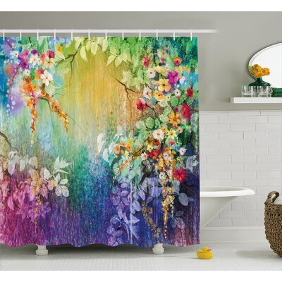Walton Fairy Floral Wisteria Lush Foliage Supreme Feminine Old Fashion Art Shower Curtain Size: 69 W x 70 H
