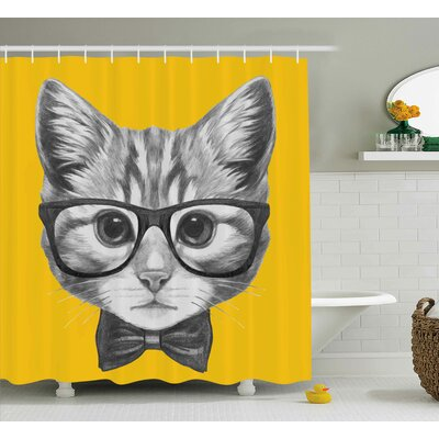 Madeline Animal Sketchy Hand Drawn Design Baby Hipster Cat Cute Kitten With Glasses Image Shower Curtain Size: 69 W x 70 H