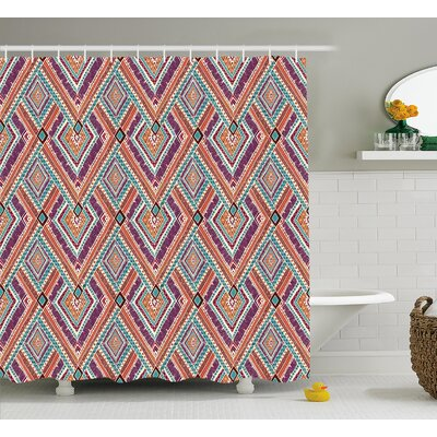 Cecilia Tribal Native American Retro Diagonal Ethno Pattern With Geometric Shapes Art Shower Curtain Size: 69 W x 70 H