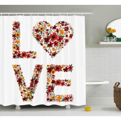 Valentines Day Garden Fowers Romantic Love Letters Hears Image Couple Theme Print Shower Curtain Size: 69 W x 70 H